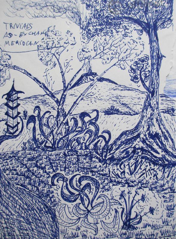 Kugelschreiber-Skizze Gunung Baluran