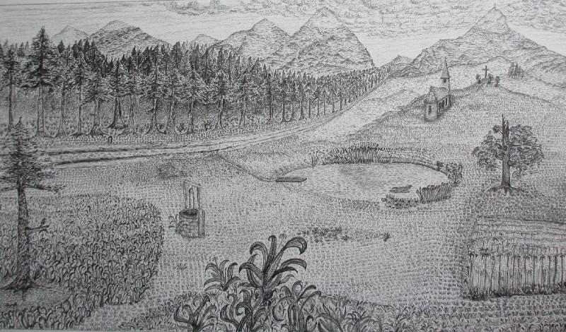 """""""Bergsee"""". Eine Studie. Bleistift. Undatiert."""