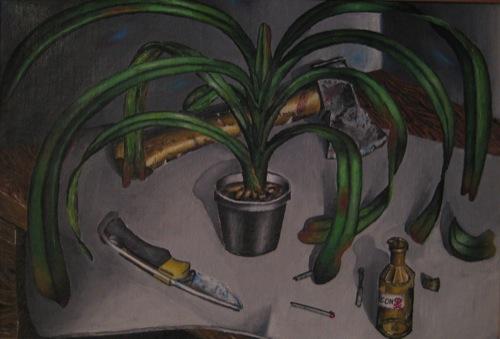 """""""Ungesunde Pflanze"""".Stilleben. Öl auf Leinwand.1988."""