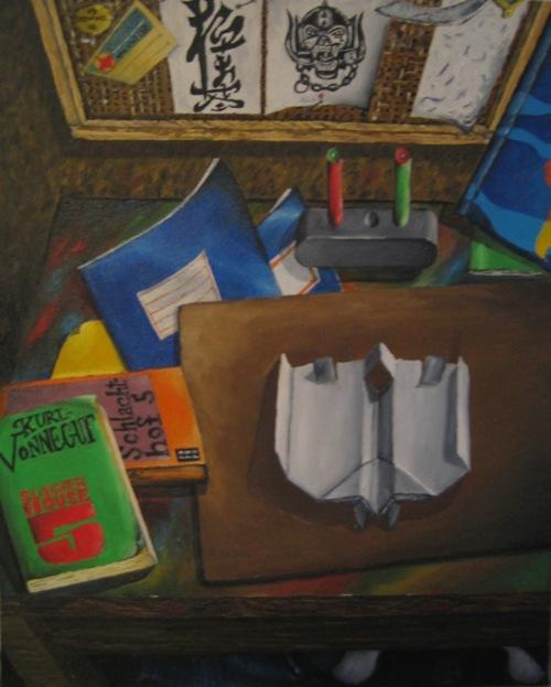 """""""Gelangweilt am Schreibtisch"""". Öl auf Leinwand. undatiert, 1989."""