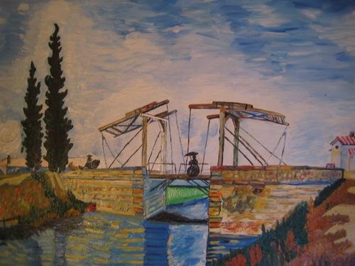 """""""Die Brücke von Arles"""". Kopie von van Gogh. Öl auf Leinwand. Undatiert."""