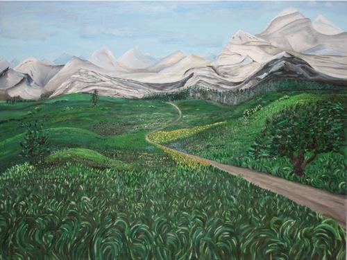 Berglandschaft. Öl auf Leinwand. Undatiert.