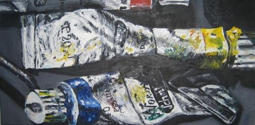 """""""Ölmalerei"""". Öl auf Leinwand. Undatiert."""
