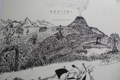 Inspirationen aus Bayern und Bali. Kugelschreiber auf Notizblock. Skizze.