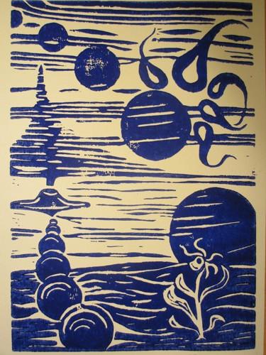 """""""Io, Europa, Ganymed, Kalisto und Amalthea"""". Linoleumschnitt."""