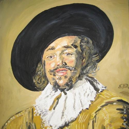 """""""Der lustige Zecher"""" Kopie nach Frans Hals. Öl auf Leinwand. Undatiert."""