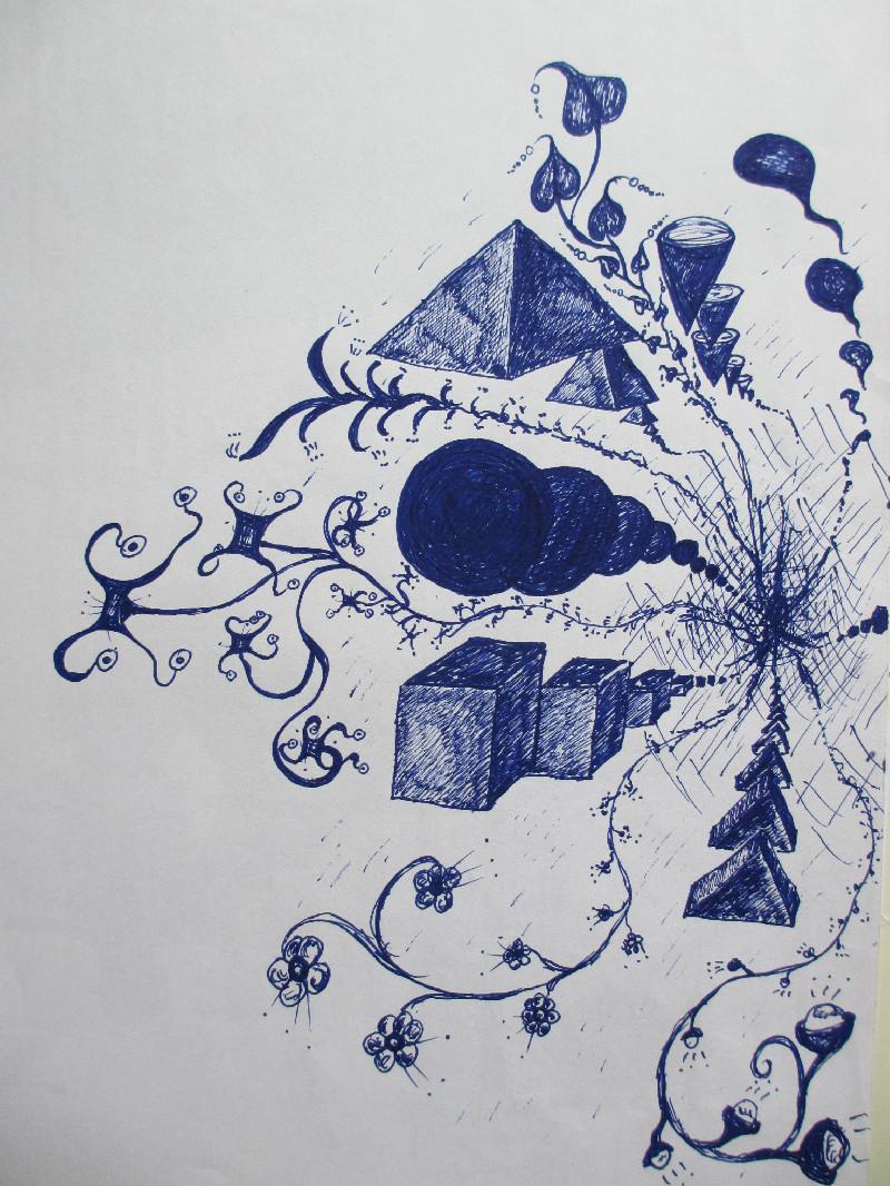 """""""Nirvana und die Tiefe"""". Studie, Kugelschreiber auf Papier, undatiert."""